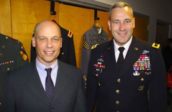 Mercury Marine president John Pfeifer with Army Brig. Gen. Brian Winski at the company's Veterans Day event.